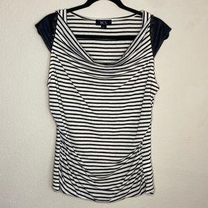 BCX Black & White Strip Stud Cap Sleeve Blouse XL